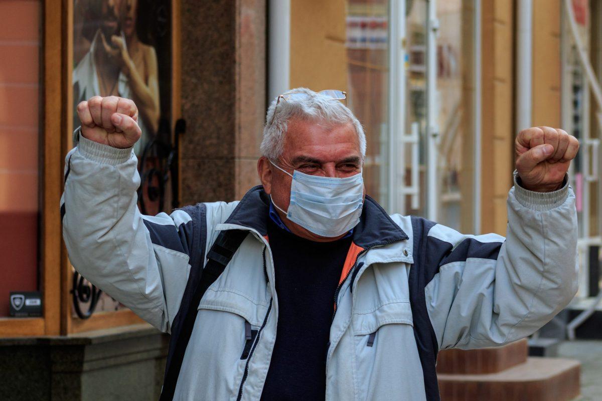 karantén, koronavírus, maszk, ember